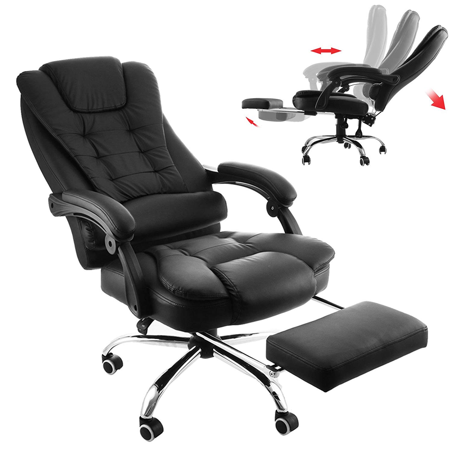Mophorn Executive Office Chair with Footrest PU Leather High-Back Reclining Office Chair Adjustable Reclining Computer Chair Napping Armchair Managerial Swivel Office Chair with Foot Stool (Chair)