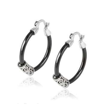 92867 Xuping Ceramic Large White Gold Hoop Earrings Saudi Jewelry