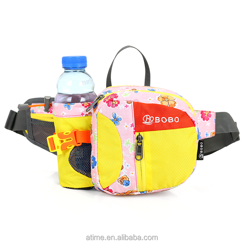 New fashion waterproof nylon running sport waist fanny pack bag with bottle holder
