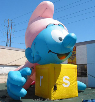 new design of outdoor parade giant inflatable baby smurfs inflatable