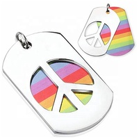 MECYLIFE Stainless Steel LGBT Jewelry Necklace Carved Peace Sign Rainbow 2pcs Pendant Necklace Set
