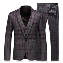 Mens Suits Slim Fit (<span class=keywords><strong>Jas</strong></span> + Vest + <span class=keywords><strong>Broek</strong></span>) set Moderne Nieuwste <span class=keywords><strong>Jas</strong></span> <span class=keywords><strong>Broek</strong></span> Ontwerpen Plaid Tuxedo Prom Suits