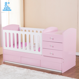 Luxury Baby Furniture Safety Design Wooden Baby Crib With Drawers
