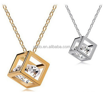 free shipping women necklace jewelry square crystal pendant necklace