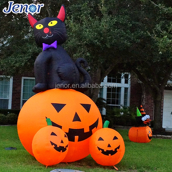 Holiday Decor Airn Inflatable Black Cat With Cushaw Pumpkin