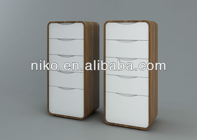 High Quality High Gloss White and Walnut Chest