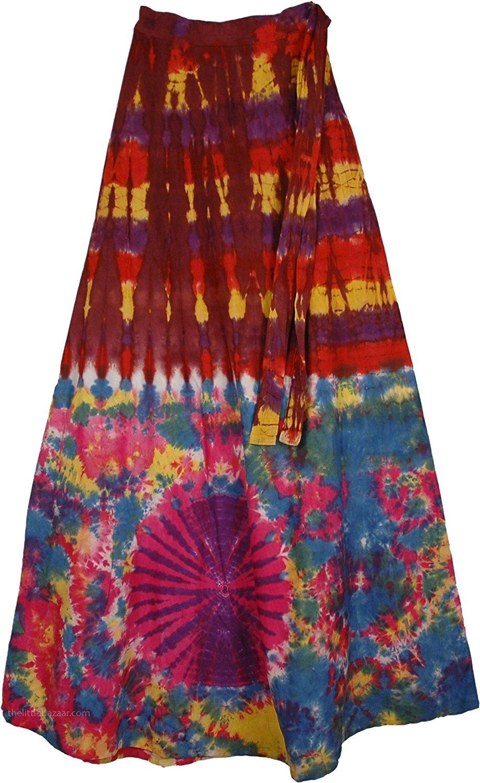 "TLB - Buccaneer Tie Dye Wrap Skirt - L: 39"" ; W: 22"" 36"" (Wrap Free Size)"