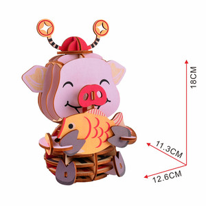 New arrival 3D wooden carton puzzle pink pig 3D Intelligence Wooden Jigsaw  Puzzle for kids