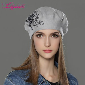 Hot trendy winter lady cap angora wool knit women beret hat with diamante flower decoration