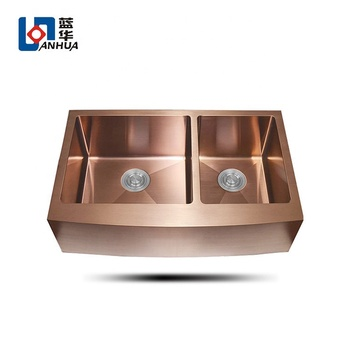 Rose Gold Used Farmhouse Double Bowl Stainless Steel Apron Sink
