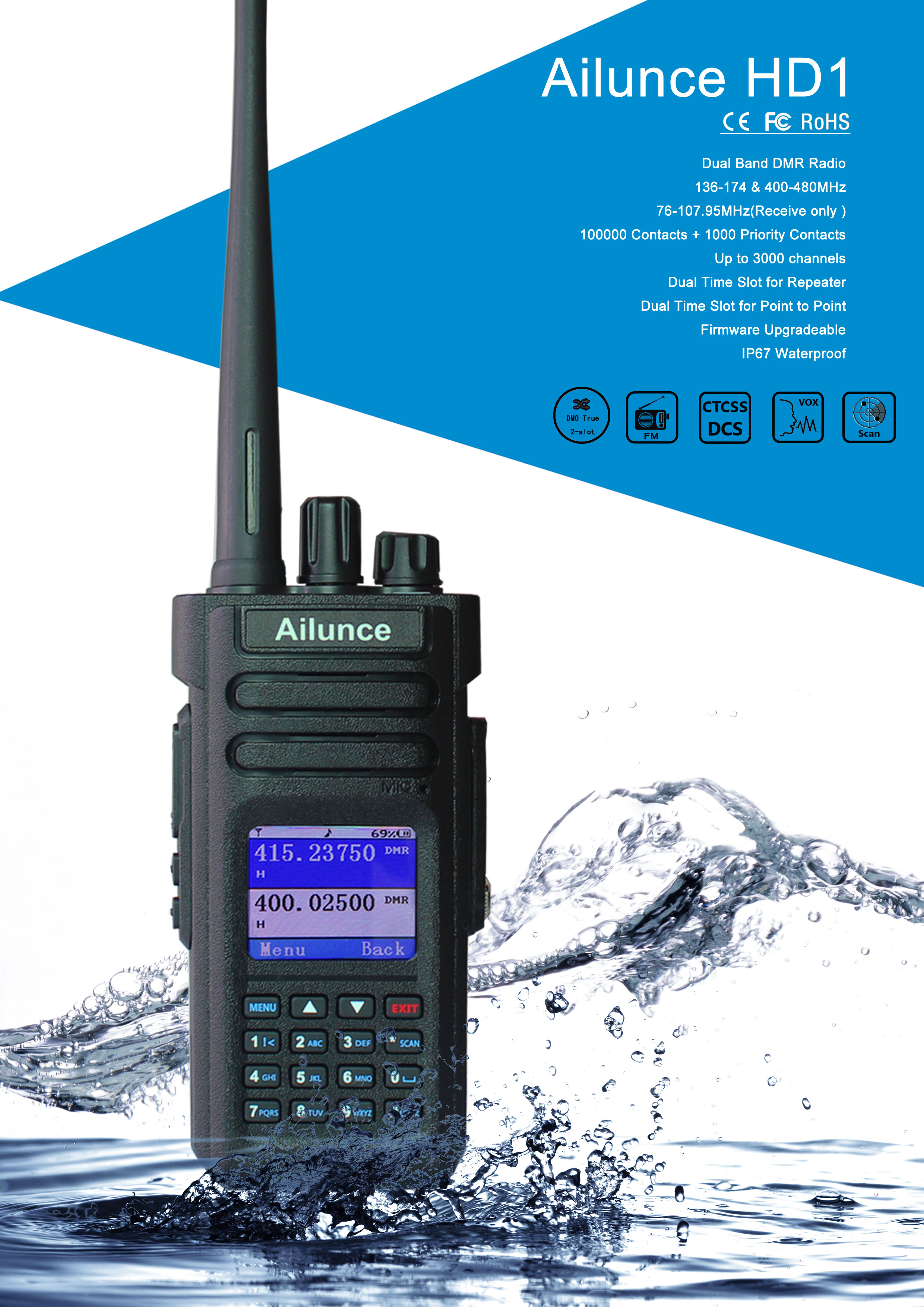 Ailunce HD1 High Power 10W IP67 Quad Band DMR Transceiver Waterproof Ham  Radio, View walkie talkie 10km range, Ailunce Product Details from Henan