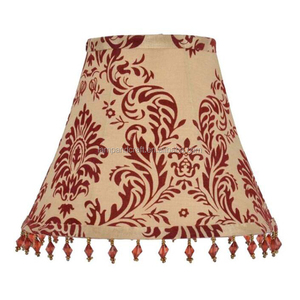 Europe Red Flower Taper Linen Lampshade For Table Lamp