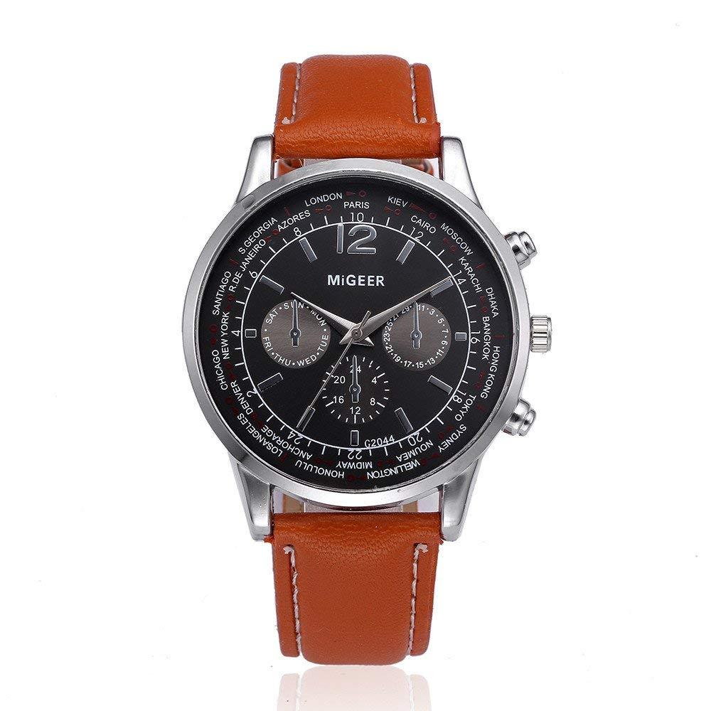 Big Promotions! Nufelans Men Simple Retro Design Leather(PU) Band Stainless Steel Analog Quartz Business Wrist Watch Sale