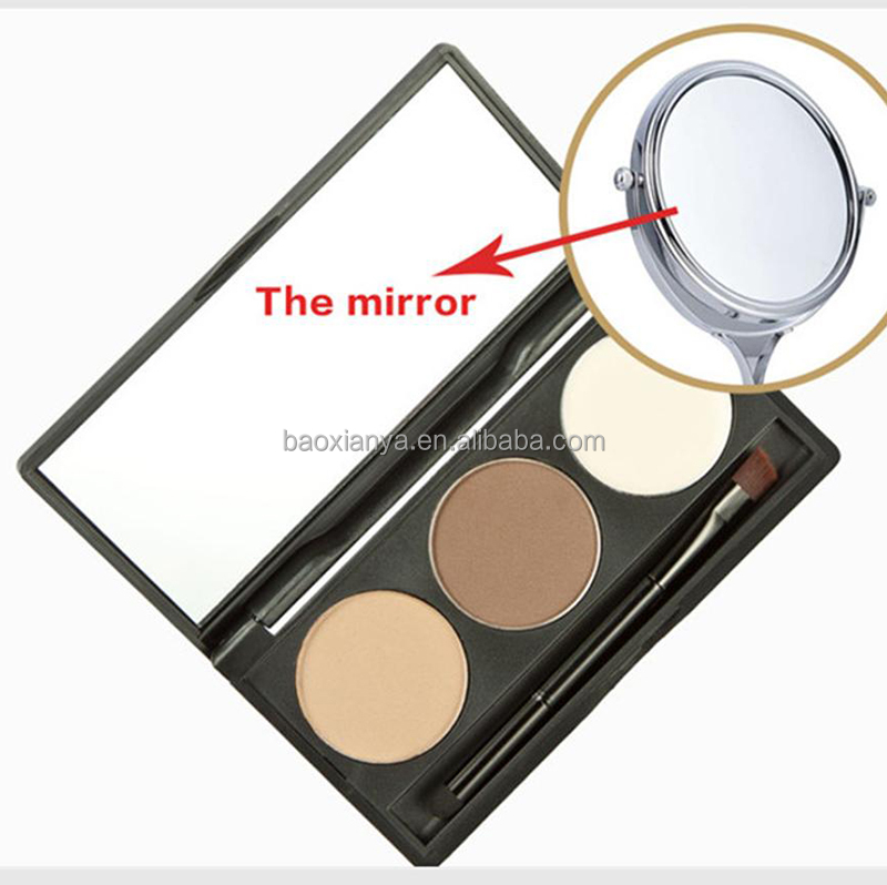 Hot Sale High Quality No Lbale Make Your Own Brand Name Makeup 3 Color Eye Brow Powder With Brush