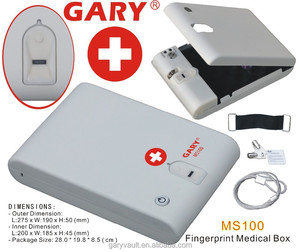 Wholesale- MS100-White Fingerprint Biometric Mini Medical Security Storage Steel Safe Box / Pill Storage Box