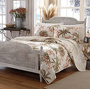 2 Piece Tan Palm Tree Quilt Twin Set, All Over Tropical Ocean Hawaiian Flower Trees Costal Island Bedding, Multi Floral Beach Paradise Exotic Flowers Themed, Leaf Green Beige Salmon Coral Pink