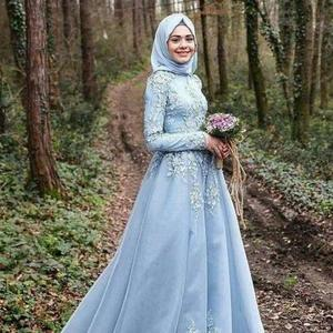 Long Sleeve Evening Party Dress Gown with Hijab for Muslim Women
