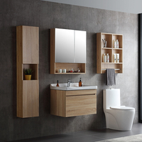Wall hung plywood with melamine cover bathroom cabinet with ceramic basin WTS001