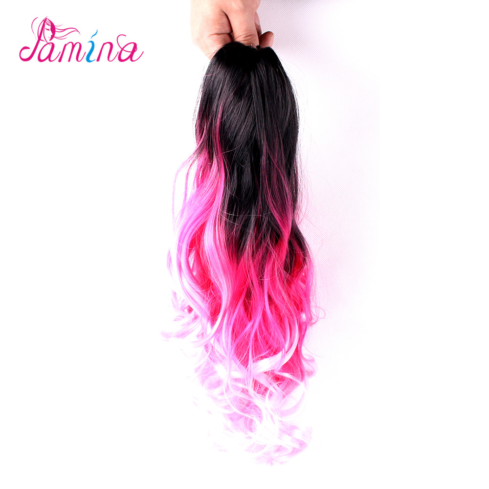 Wholesale Cheap Synthetic Hair Extensions Colored Two Tone Hair Weave Synthetic Ponytail