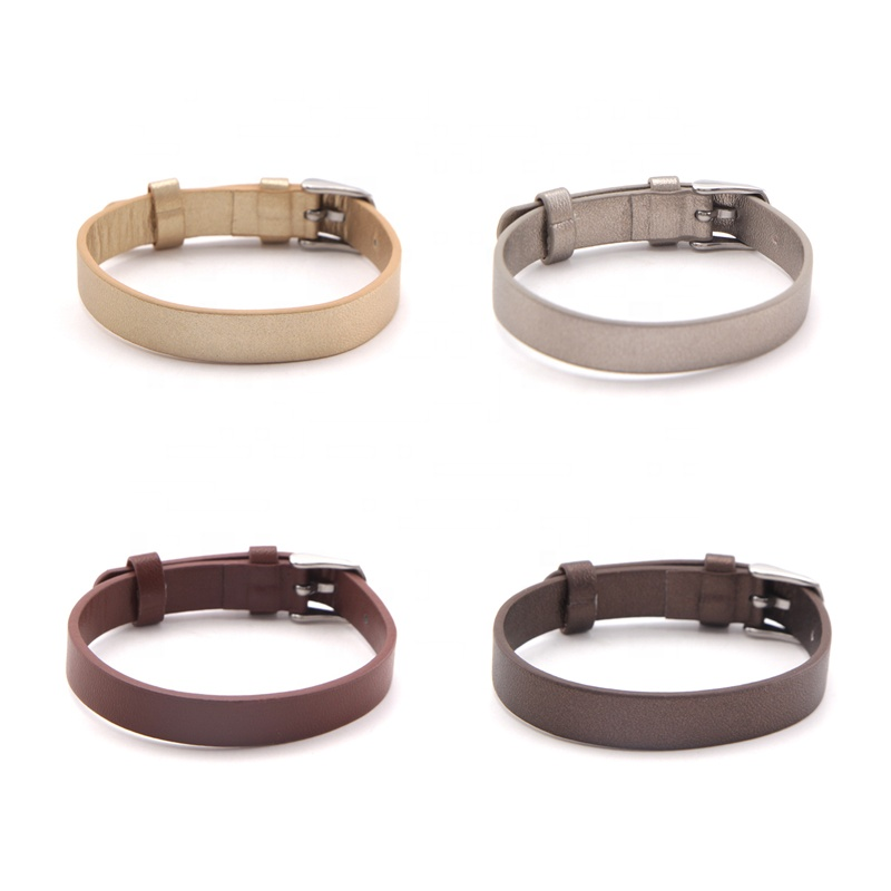 Custom made color plain faux leather strap bracelets for DIY beads bracelet making