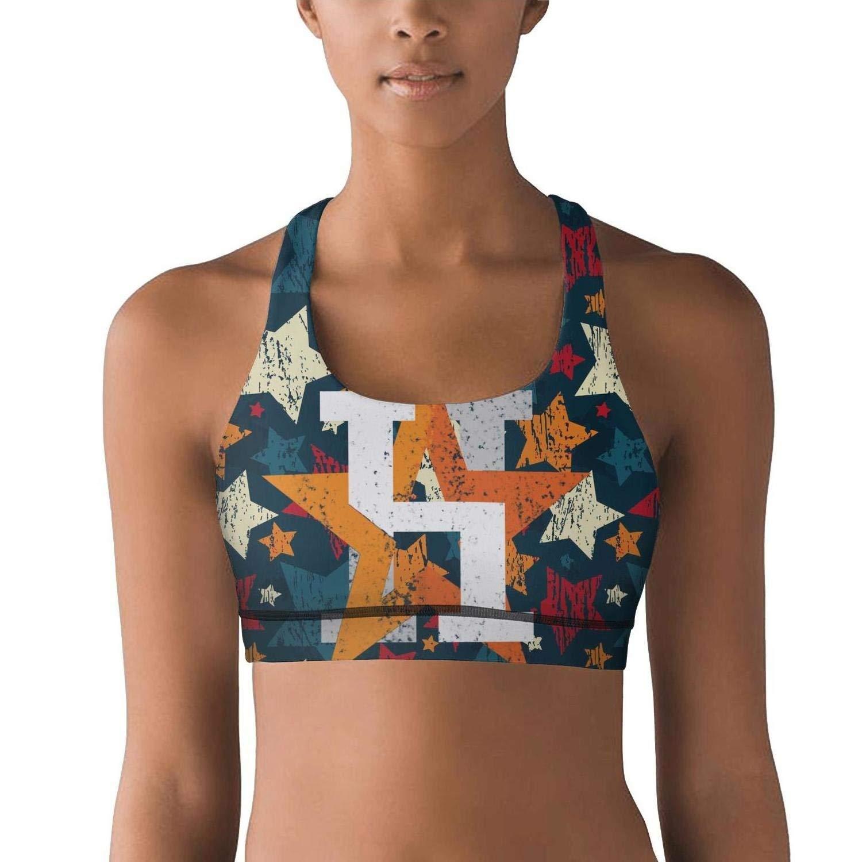 de2113e80e Get Quotations · Lkegc Womens Vintage Star Orange Baseball Sports Yoga  Seamless Sports Bras