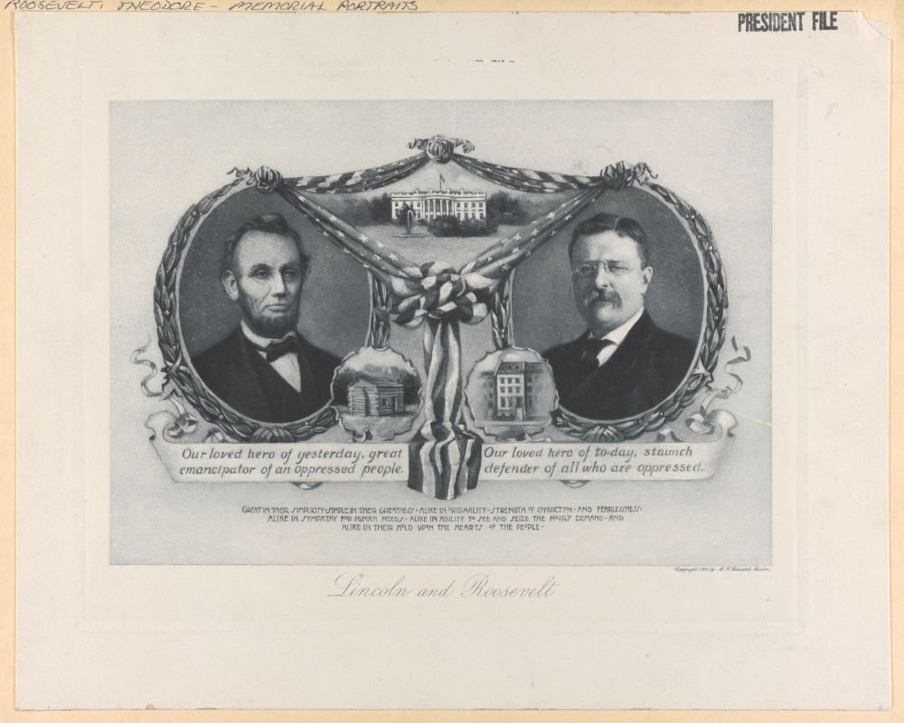 1906 Photo Lincoln and Roosevelt Print showing Presidents Lincoln and Theodore Roosevelt in cameos connected by bunting, with the White House in the upper center between them, and respective birthplac