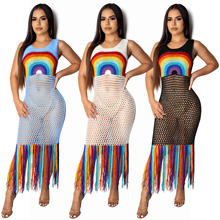 2019 Hot Vrouwen Sexy Rainbow <span class=keywords><strong>Haak</strong></span> Hollow-out Kwastje Strand Maxi <span class=keywords><strong>Jurk</strong></span>