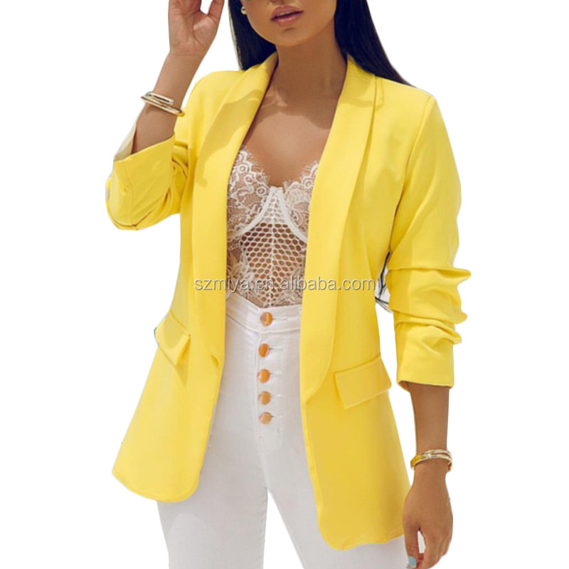 New Fashion Slim Fit Women Blazer Latest Design Solid Color Casual Ladies Blazers