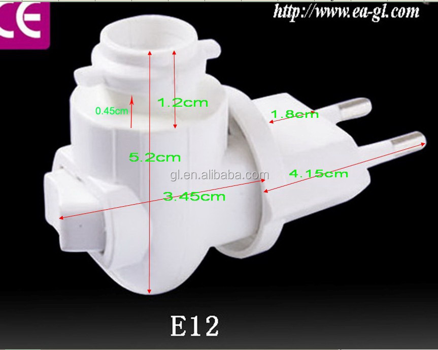 088A CE ROHS approved switch Pakistan Salt Wall lamp Night Light electrical plug in socket lamp holder European and 220V