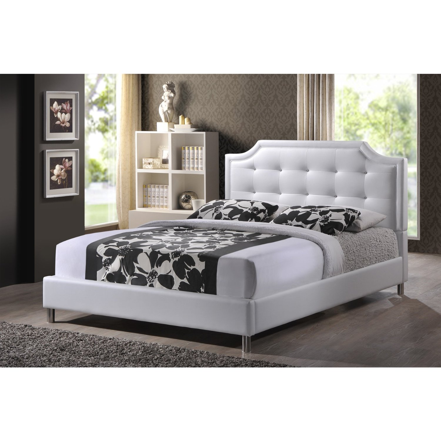 Get Quotations Carlotta Button Tufting With Faux Crystal Accent White