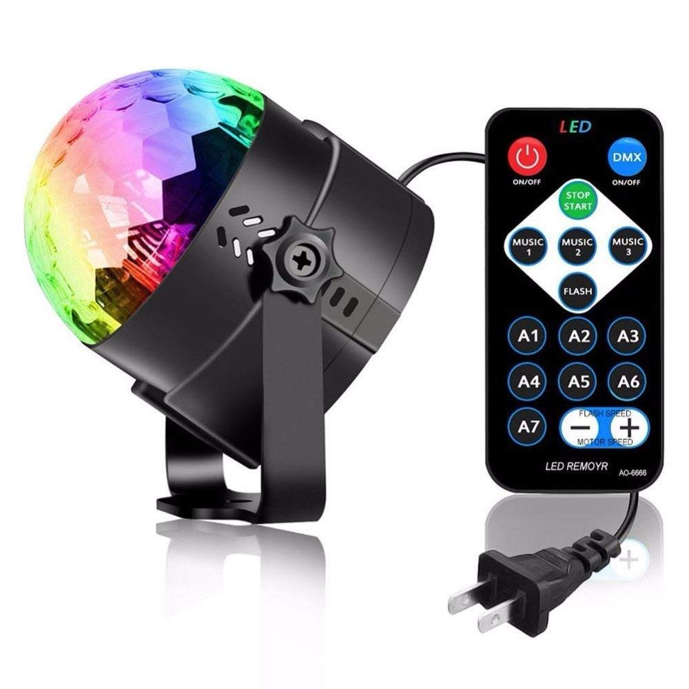 Party Lights,Fastdisk Disco Ball DJ Lights RGB Stage Lighting Strobe LED 7 Color Changing Sound Activated Magic Ball Projector Effect Strobe Lights with Remote Control For Dj Club Bedroom Child Birthd
