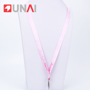 Pink Polyester Sublimation Professional Custom Lanyard For Girls