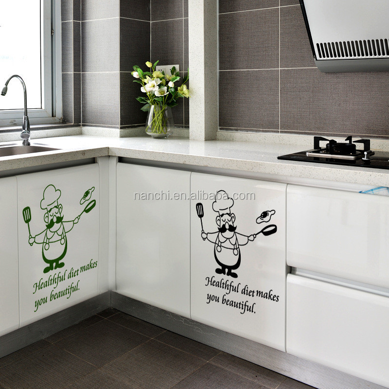 healthful diet makes you beautiful art kitchen wall sticker decoration kitchen waterproof removable wall murals