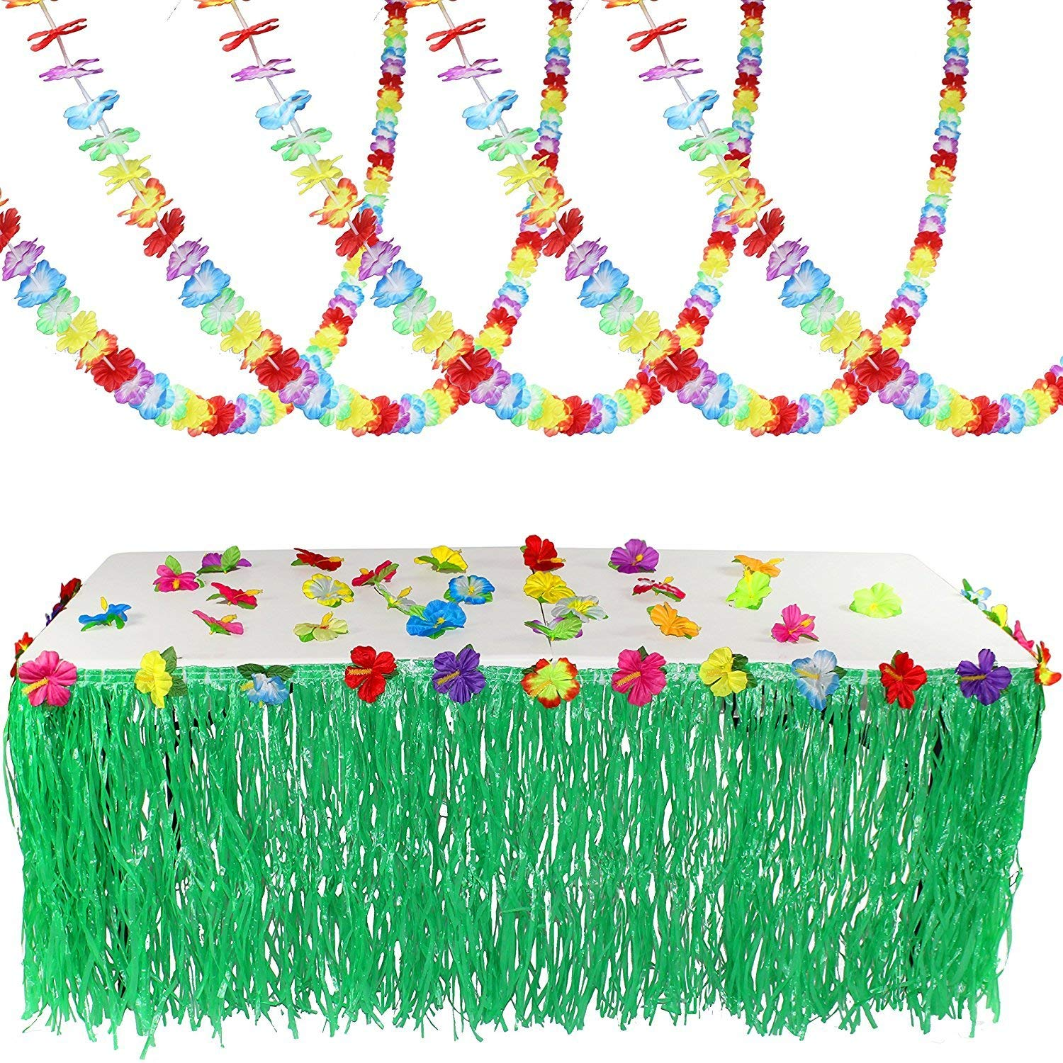 Luau Tropical Hawaiian Party Decoration Set Including 100 ft Flower Lei Garland, 36 Hibiscus Flowers and 9 ft Luau Table Skirt