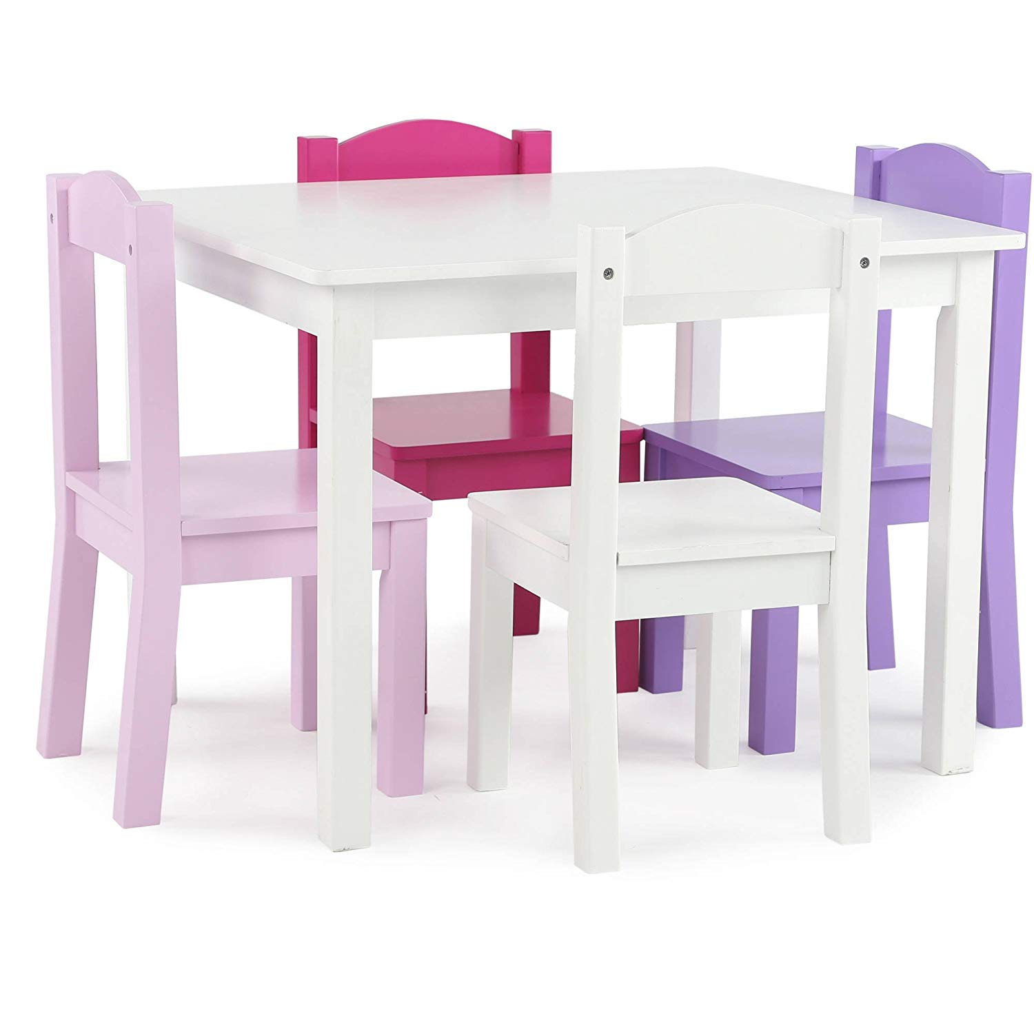 Get quotations · kids wood table and 4 chairs set in pink purple sturdy engineered wood construction