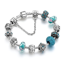 New product teal jewelry bracelet vintage look antique silver plating beads handmade DIY charm beaded bracelet