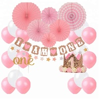 1st birthday themes party decoration Tiara Crown, Cake Topper i am one and stars banner, Paper Fan flower and balloons