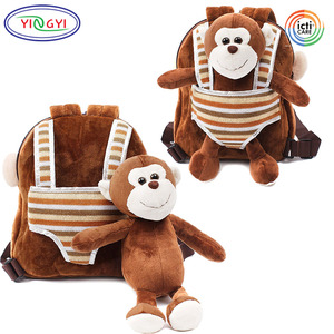 B210 Small Toddler Toy Backpack Kids Monkey Stuffed Animal Detachable Gift Idea Monkey Backpack