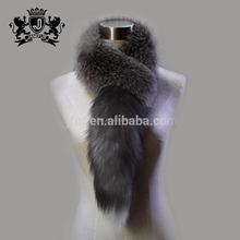 factory direct supply fluffy genuine fox fur scarf with tail