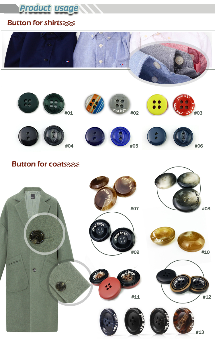 Custom engrave logo Round 4-holes Shirt resin Button
