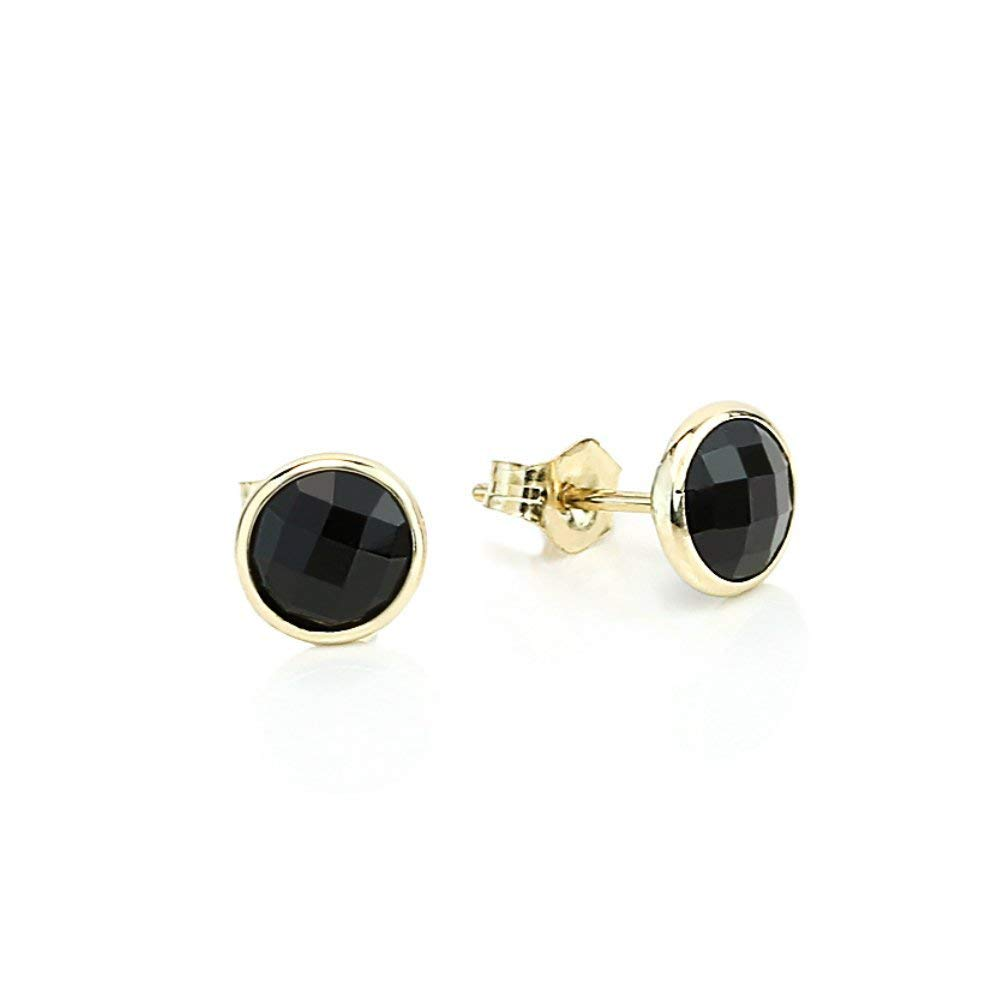 9a1c3abad Get Quotations · 14K Yellow Gold Handmade Gemstone Stud Earrings With 6 MM  Round Black Onyx Gemstones