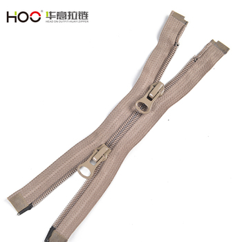 High quality clothing accessories brown two ways open end Nylon zipper