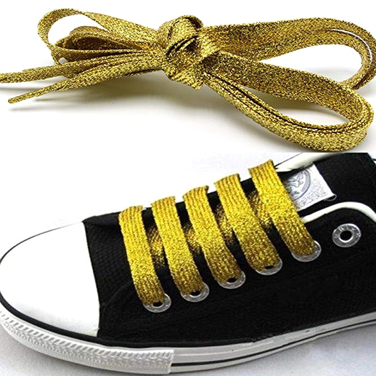 Wholesale Silver Metallic Glitter 45 Inch Elastic Colorful Funny Shoelace Directly Factory