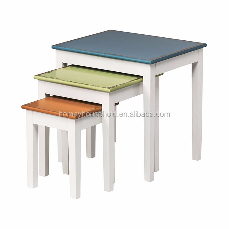 Colorful wood nesting side table coffee table whole wood for Bright colored side tables