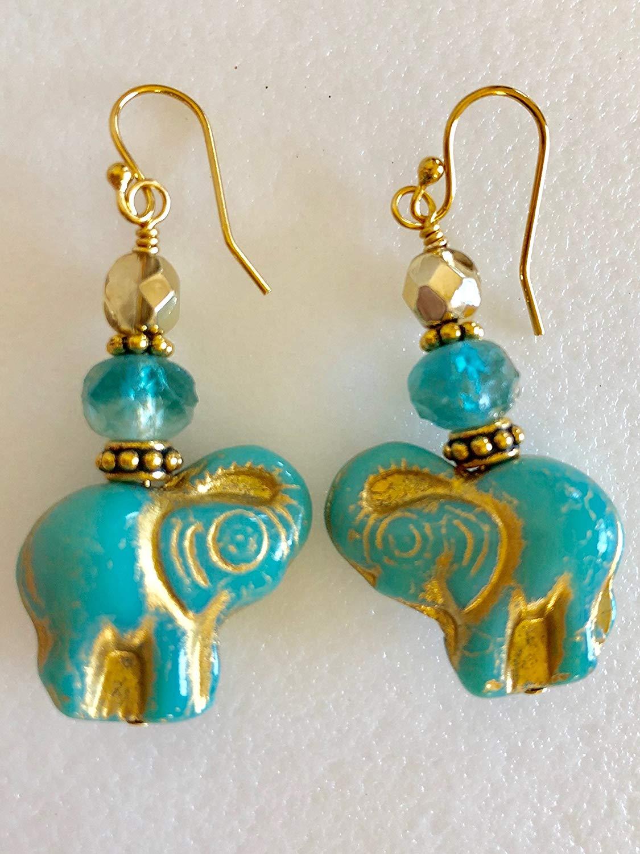 Czech Aqua Blue Elephant Earrings, Premium Czech Glass Beads, Aqua Blue Gold Metallic Wash, Elephant Jewelry, Animal Lover, Boho Earrings.