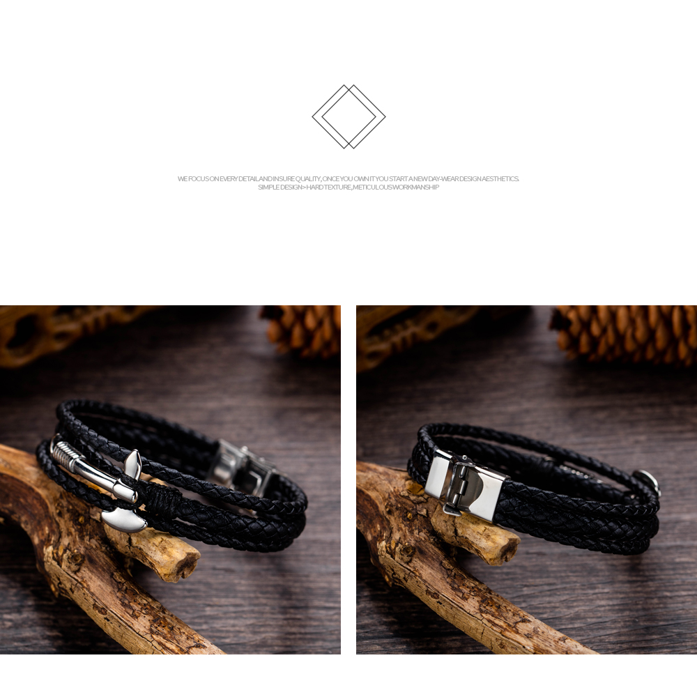 Wholesale Custom Stainless Steel Axe Shape Mens Leather Bracelet Manufacturer
