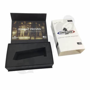 Luxury rigid flip top Fire arm magazines packaging box with foam insert box with magnetic closure and printed paper sleeve