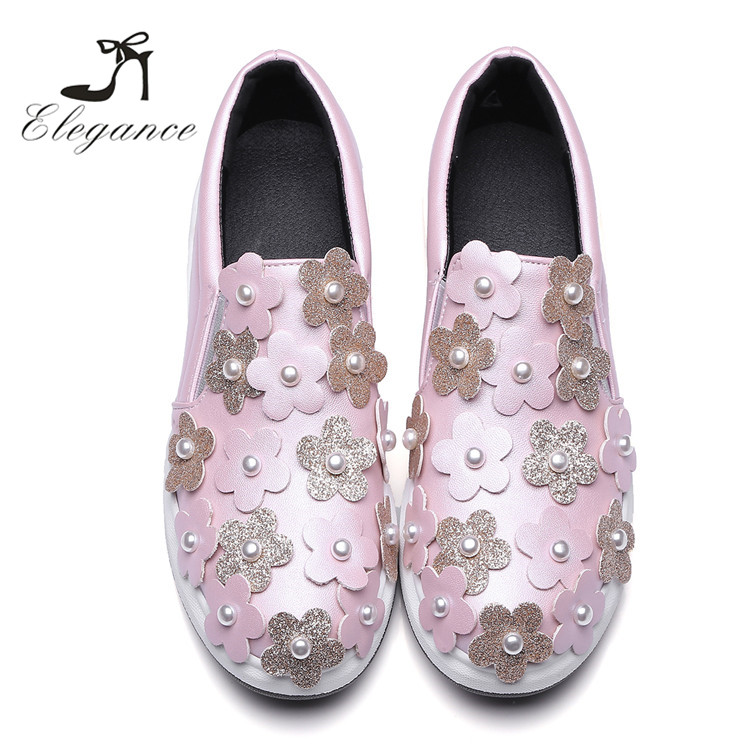 2017 High Quality Spring Pearl Sweet Pink Flower Blooms Slip-On Platform Flat Women Shoes Sneakers