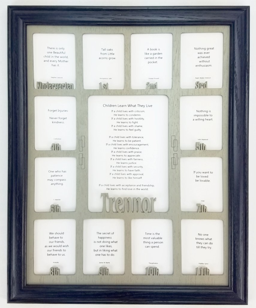 Northland Frames and Gifts Inc - School Years Picture Frame - Personalized Picture Frame with any Name - Navy Picture Frame and Stone Gray Wooden Matte, 11x14