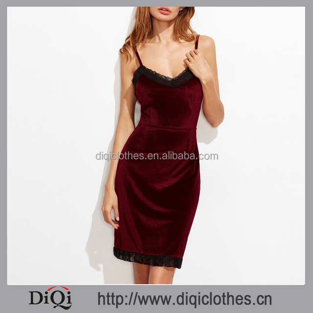 Newest High quality sexy Burgundy Contrast Lace Velvet Slip party dress for women